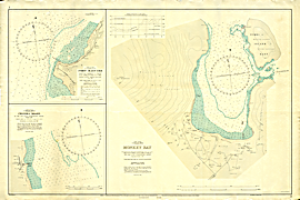 Malawi 1:3600 chart of Monkey Bay; also charts of Fort Maguire (Makanjila) and Chipoka Roads